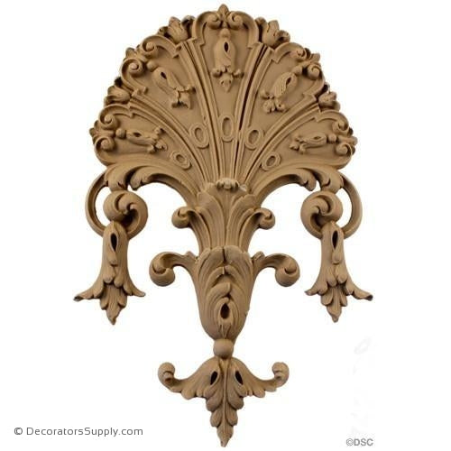 Shell-Louis XIV 10H X 6 1/4W - 3/8Relief-ornaments-for-woodwork-furniture-Decorators Supply
