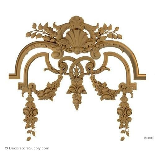 Wall Panel Design - Center Ornament - 19 3/4H X 24W - 5/8Rel-ornate-french-Decorators Supply