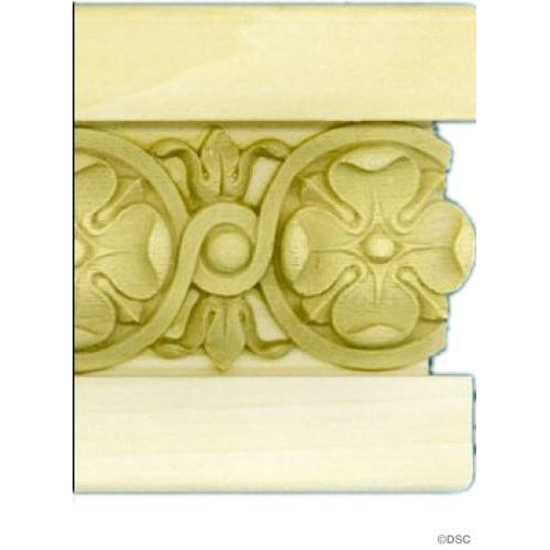 Poplar Panel Moulding With Floral Onlay- 4  1/4H - 7/8Relief
