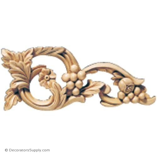 Pair [Left & Right] of Vineyard Grape Wood Scroll Appliques - (Cherry, Maple & Lindenwood)