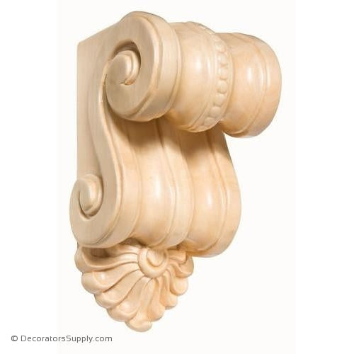 Small Scrolled Wood Corbel - (Cherry & Maple)