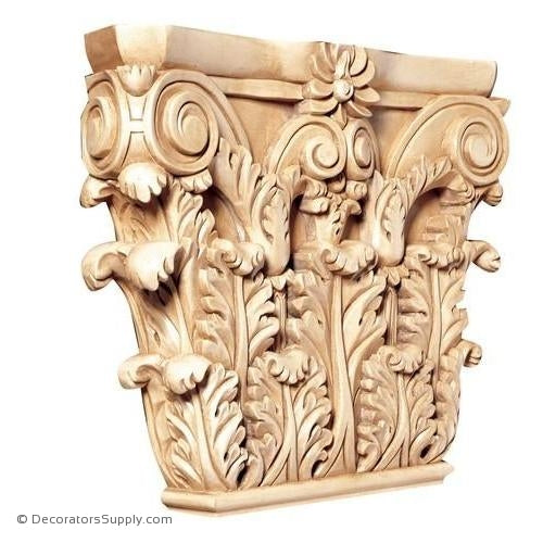 Corinthian Style Hand-Carved Wood Pilaster Capital - (Lindenwood)