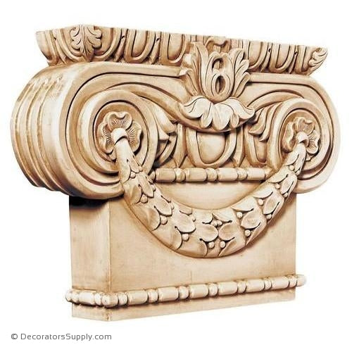Ionic Style Hand-Carved Wood Pilaster Capital - (Lindenwood)