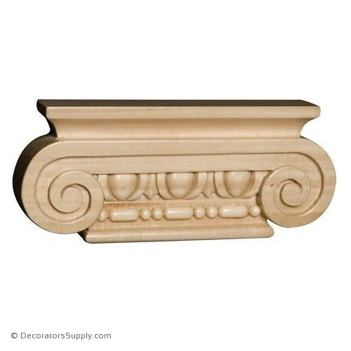 Roman Ionic Hand-Carved Wood Pilaster Capital - (Lindenwood)