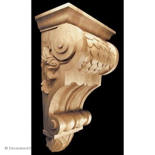 Imbricated Wood Corbel - (Lindenwood) - 3 SIZES