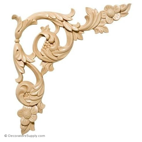 Pair [Left & Right] of Floral Acanthus Wood Scroll Appliques - (Cherry & Maple)