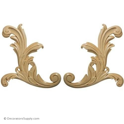 Pair [Left & Right] of Small Acanthus Wood Scroll Appliques - (Lindenwood)