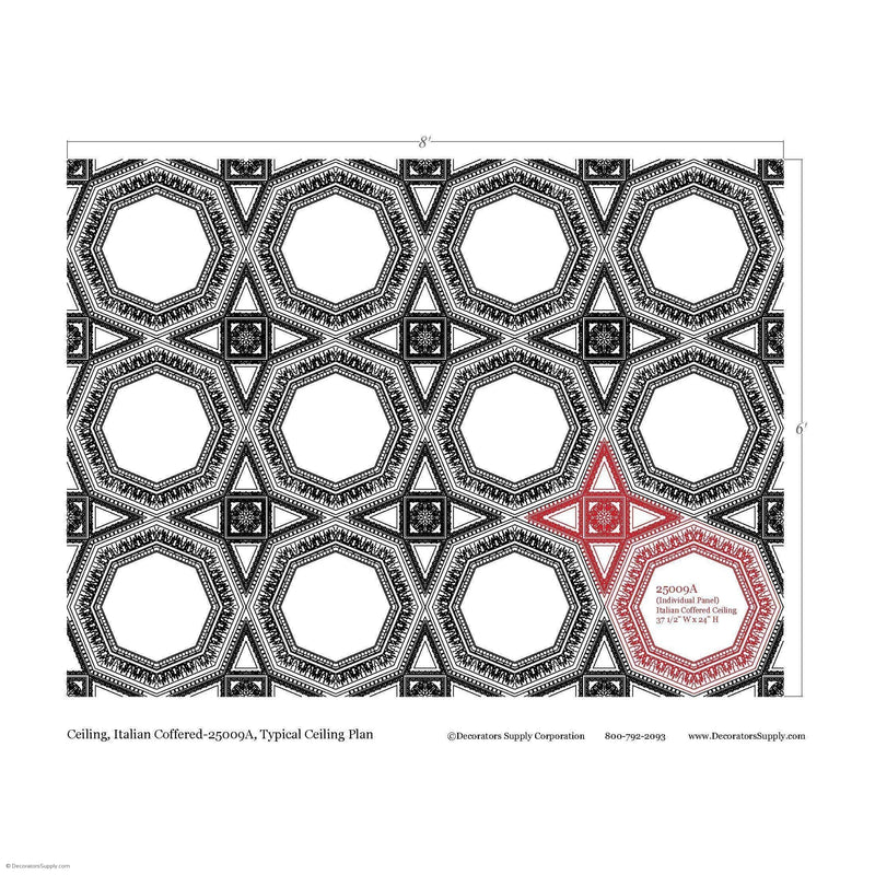 "Italian Coffered Smooth Octagon Ornamented Tail 1-3/4"" Relief  Covers 4 SF"