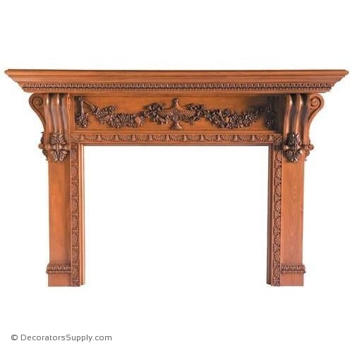"Lindenwood Carved Mantel-87""OA Width, Opening - 52""W x 40""H"