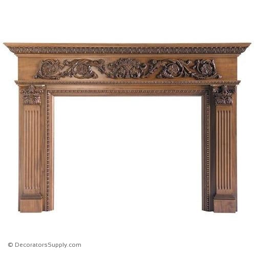 "Lindenwood Carved Mantel-81""OA Width, Opening - 52""W x 40""H"