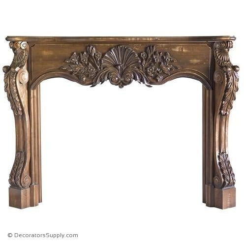 "Lindenwood Carved Mantel-72""OA Width, Opening - 52""W x 40""H"