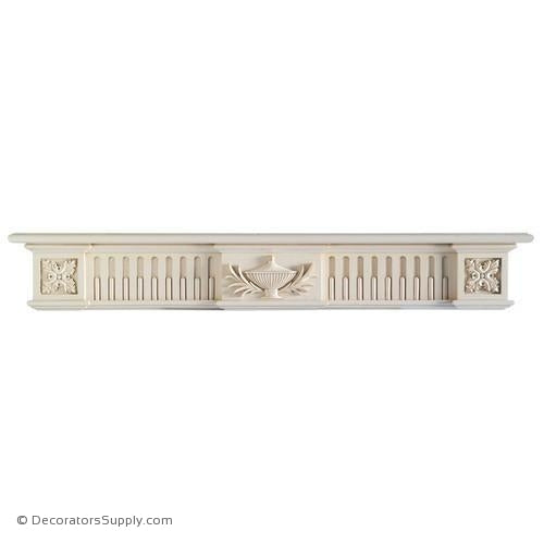 "Lindenwood Mantel Shelf - 72""W x 8""D x 11""H, Bot. D = 5"""