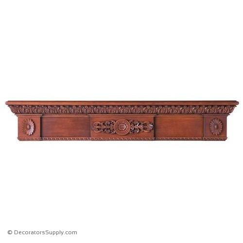 "Lindenwood Mantel Shelf - 72 1/2""W x 8""D x 13""H, Bot. D = 5"""