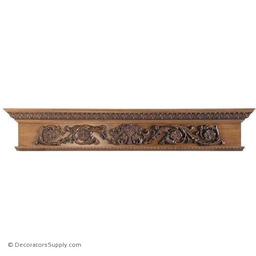 "Lindenwood Mantel Shelf - 72""W x 8""D x 14""H, Bot. D = 4 1/2"""