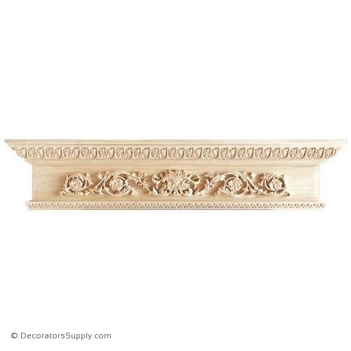 "Lindenwood Mantel Shelf-60""W x 8""D x 12 1/2""H, Bot. D=4 1/2"""