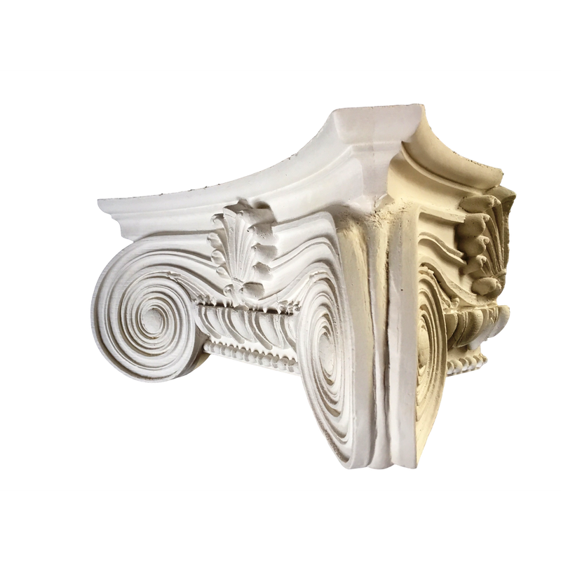 Plaster Pilaster Capital [Half Square] - Modern Ionic Semi-Classic - 9 Sizes