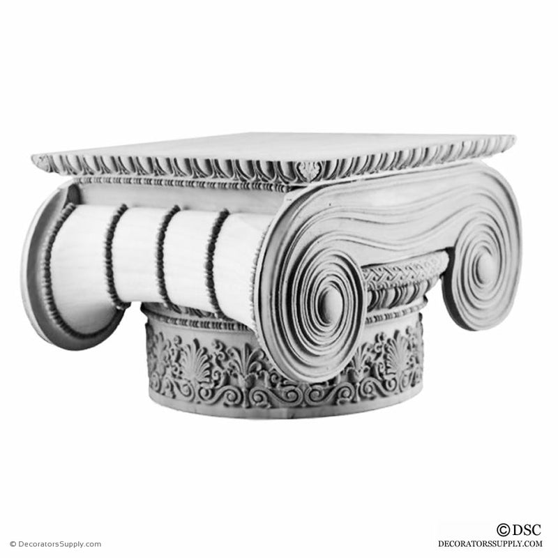 Plaster Capital [Round] - Greek Ionic Erechtheum w/ Necking-Decorators Supply