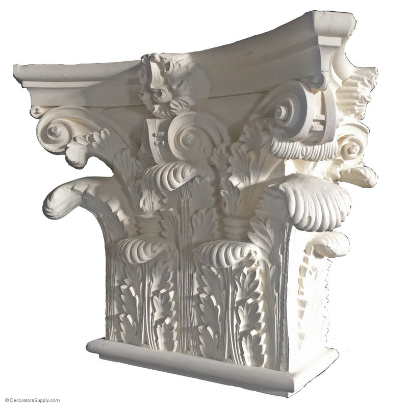 Plaster Pilaster Capital [Half Square] - Roman Corinthian Pantheon - 9 Sizes