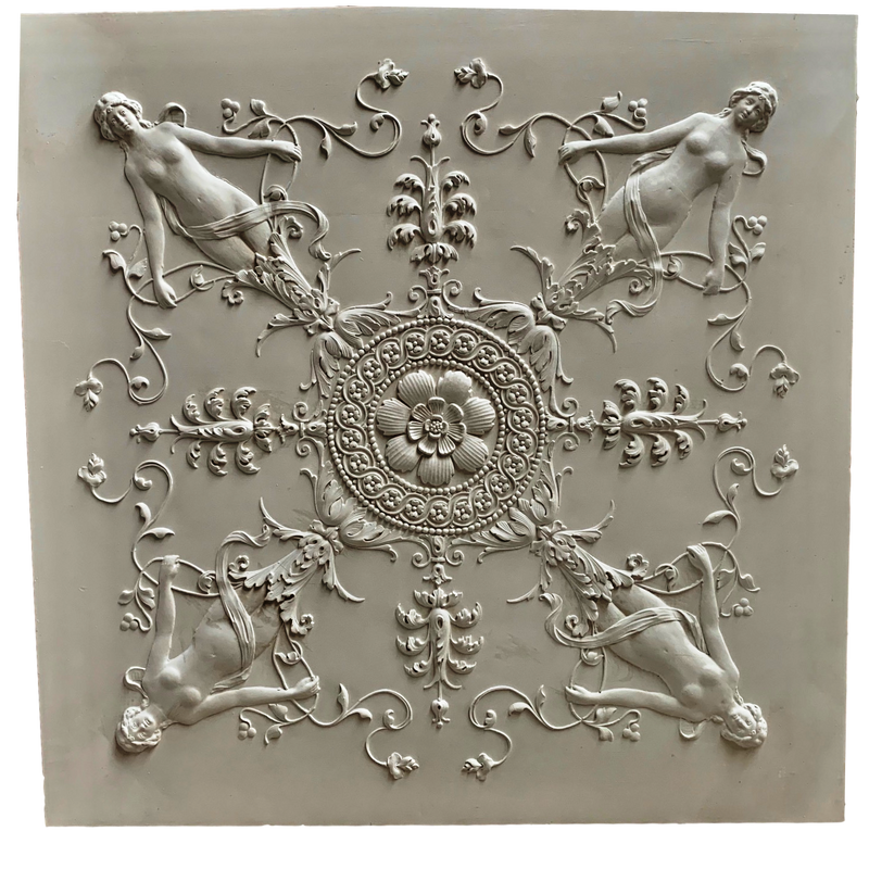 "Plaster Panel-Empire 34"" x 34"" x 5/8"" Relief - No Trim Edge - Feather In Or Add Own Edge"