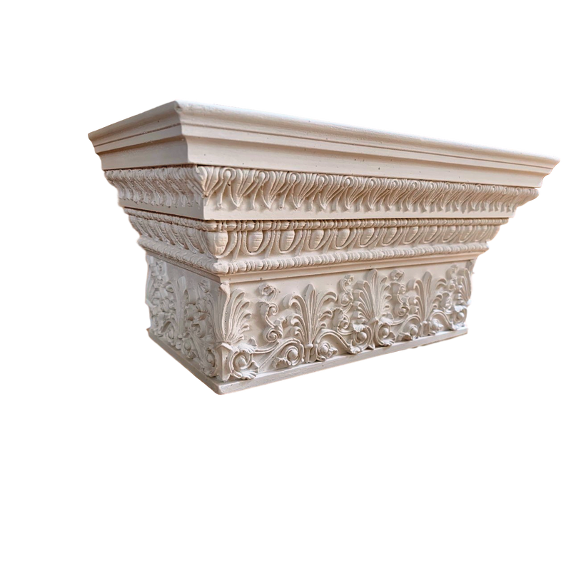 Plaster Pilaster Capital [Half Square] - Greek Antae with Necking - 2 Sizes
