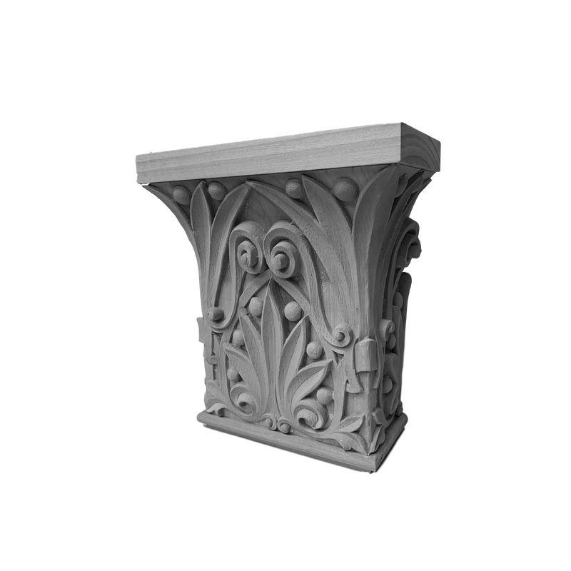 Plaster Pilaster Capital  [Half Square] - Romanesque - Return is 2-1/2""