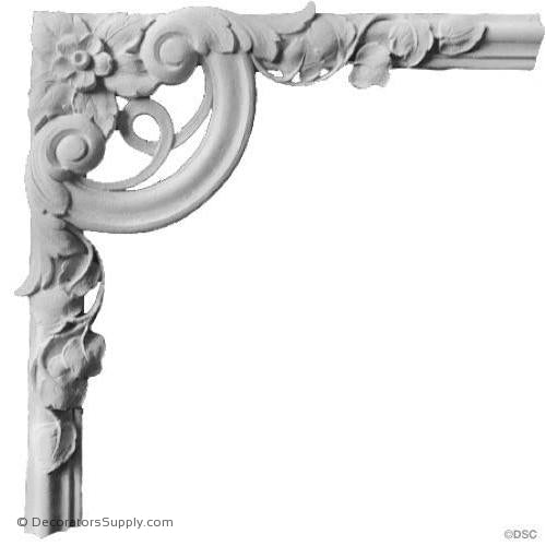 "Plaster Corner Ornament - 8 1/4 x 8 1/4""-ornate-french-Decorators Supply"