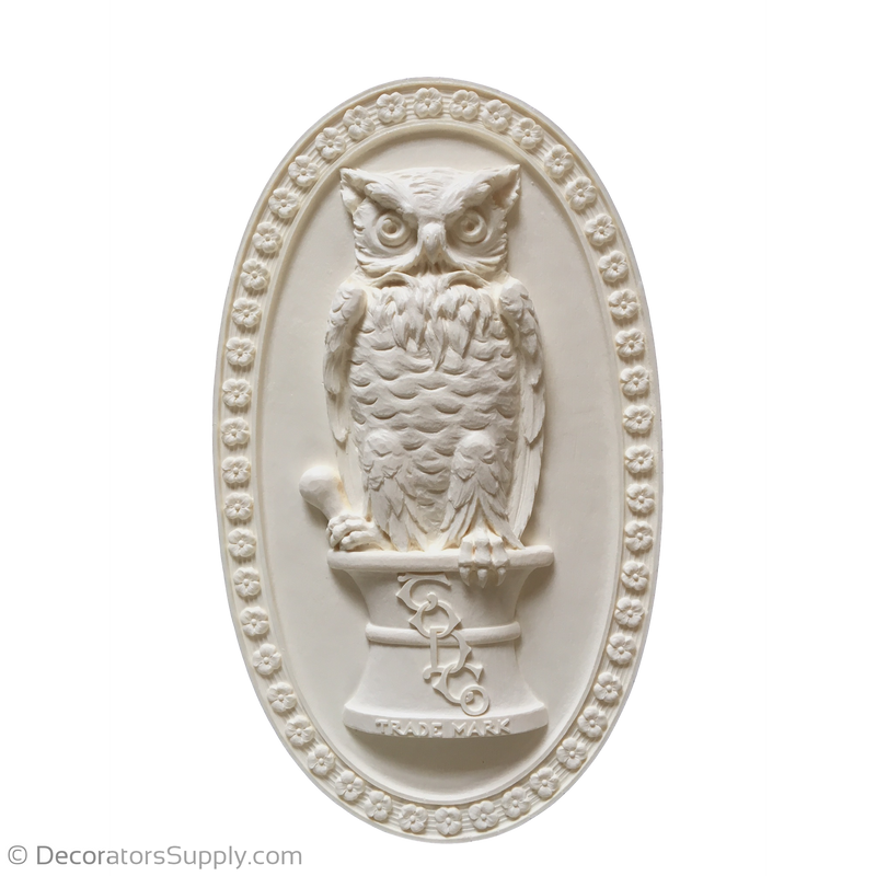"Exterior (Resin)  Bird Owl 16-1/4"" H x 9-1/2"" W x 1-1/8"" Relief"