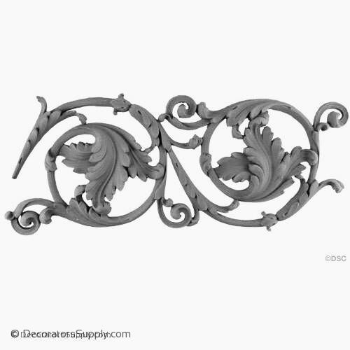 "Resin (Exterior) Leafy Scroll Empire 7-1/4"" H x 7/8"" Relief"