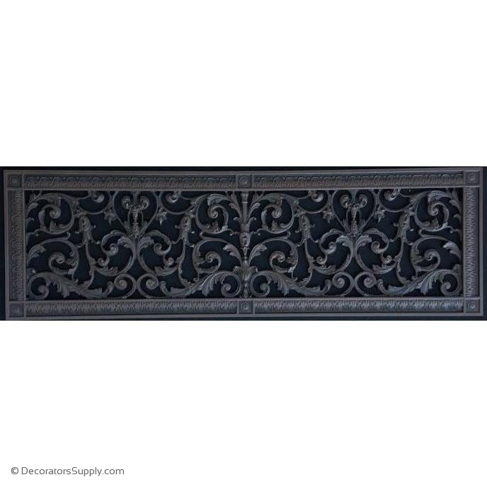 "RESIN LOUIS XIV GRILLE 8 X 30"" DUCT, 10 X 32"" FRAME"