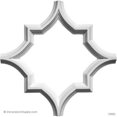 "Open Geometric Tracery - 20 5/16"" Sq 1 3/4W x 1 1/2"" H-geometric-ceiling-designs-Decorators Supply"