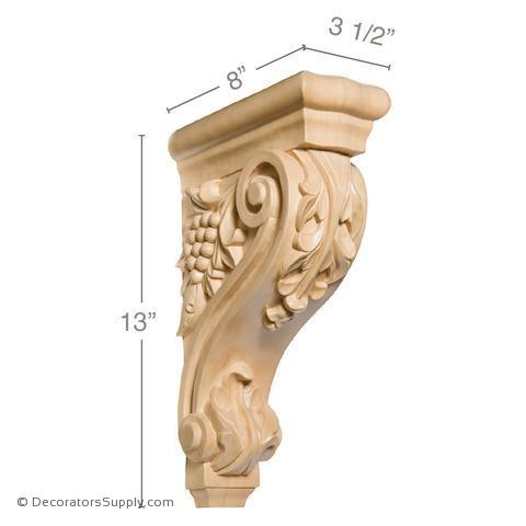 Acanthus Grapevine Wood Corbel - (Cherry, Maple & Lindenwood)