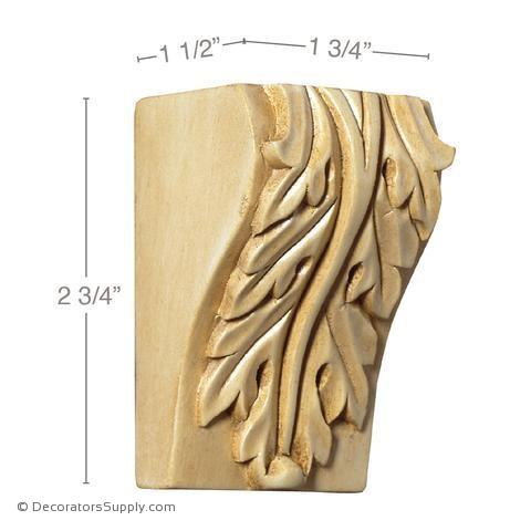 Acanthus Wood Modillion Block - (Lindenwood)