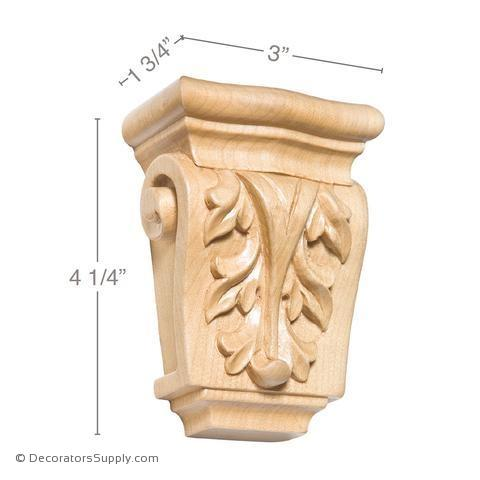 LOT of 2 Hand Carved Hardwood Petite Corbel