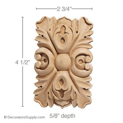 Rectangular Wood Rosette [2 PCS] - (Lindenwood)