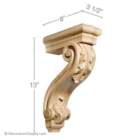 Pierced Acanthus Wood Corbel - (Cherry & Maple)