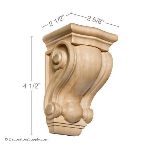 Traditional Small Wood Corbel - (Cherry, Maple & Lindenwood) - 2 SIZES