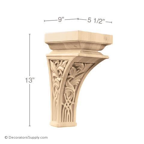 Nouveau Wood Corbel - (Cherry, Maple, Red Oak & Walnut) - 3 SIZES