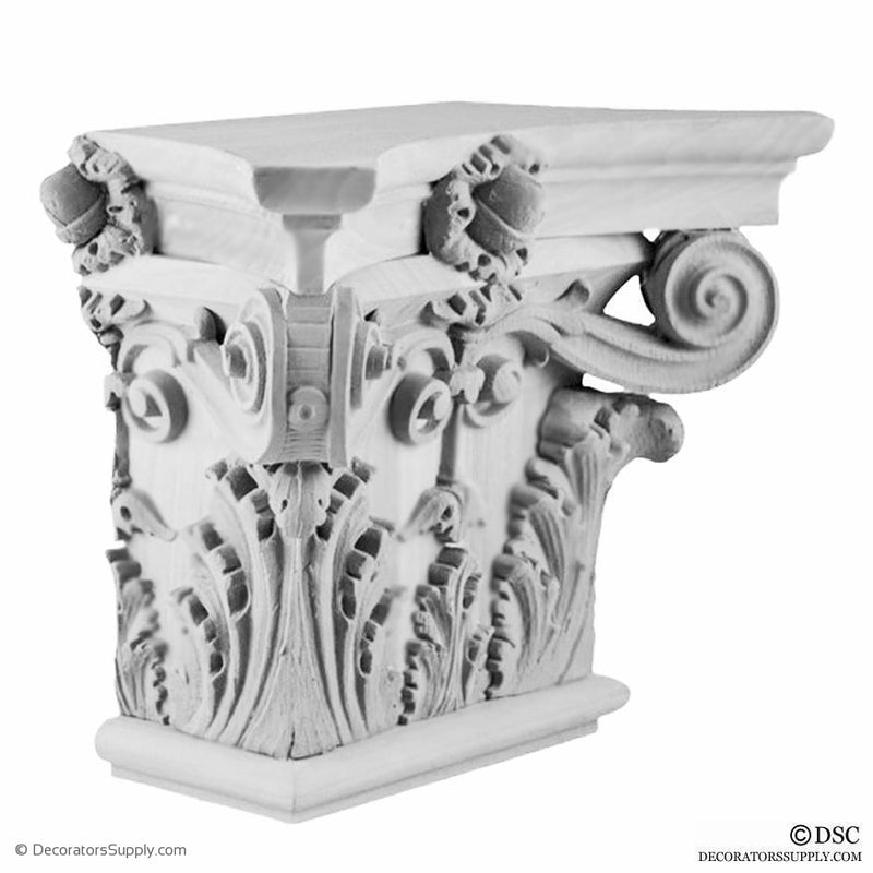 Plaster Pilaster Capital [Half Square] - Italian Renaissance Corinthian Sansovino-Decorators Supply