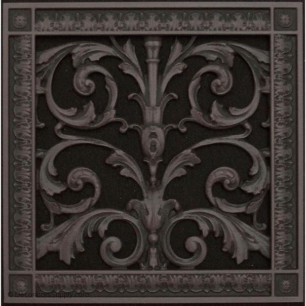RESIN LOUIS XIV GRILLE - 8X8 DUCT, 10 x 10 x 3/8 FRAME
