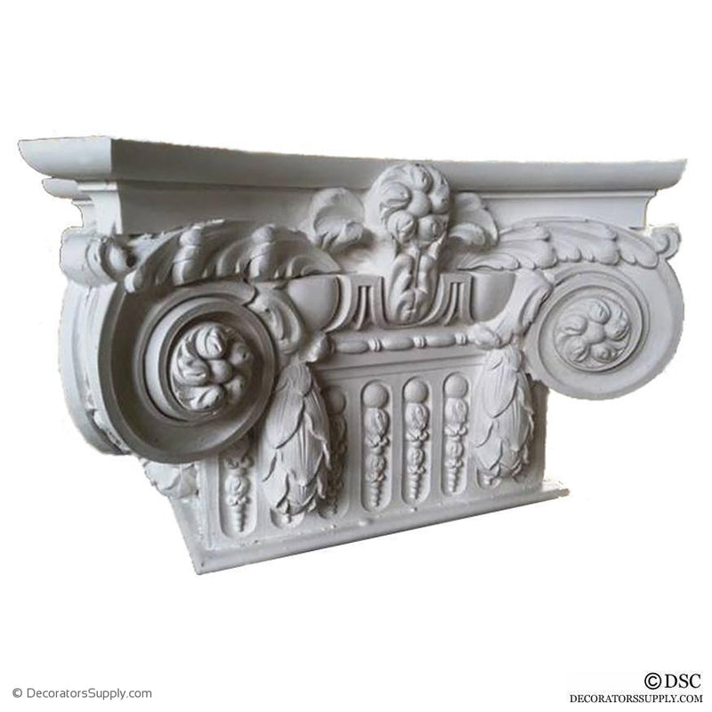 Plaster Pilaster Capital [Half Square] - Modern French Ionic Paris w/ Necking-Decorators Supply