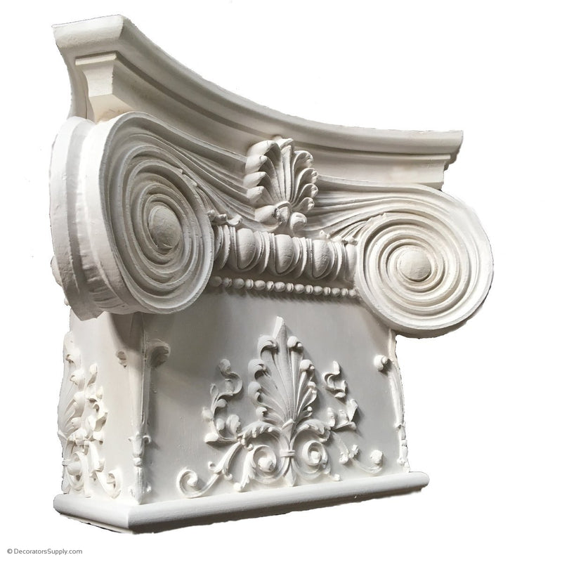 Plaster Pilaster Capital [Half Square] - Modern Ionic Empire with Necking - 10 Sizes
