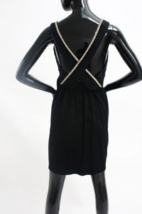 Late 1970s Rhinestone piped mini dress