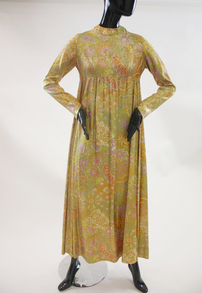 Impetuous Fire 1960s empire waist printed lame' maxi dress