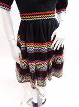 Load image into Gallery viewer, Vintage Rainbow Ric Rac square dance dress