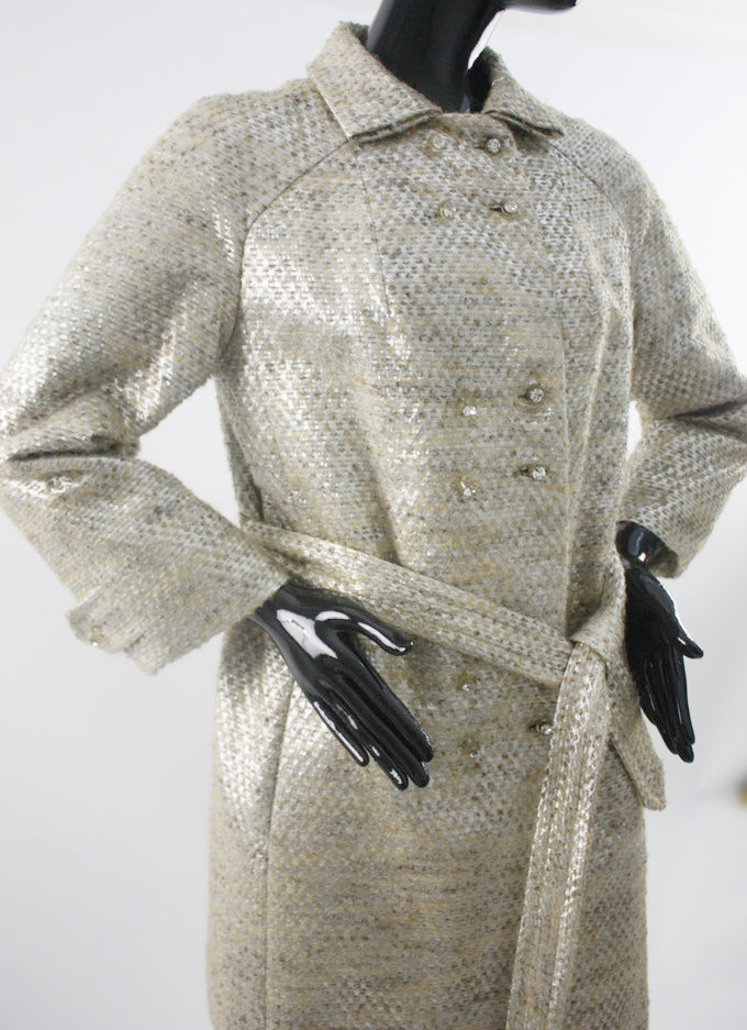 1960s Edie metallic tweed double breasted coat