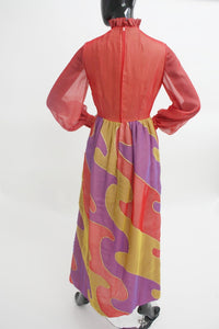 Rare Mollie Parnis quilted psychedelic maxi dress