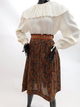 Load image into Gallery viewer, 1970s Paisley print embellished peasant skirt