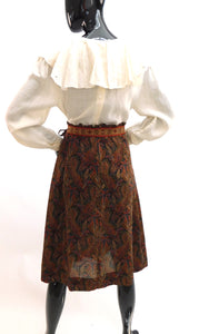 1970s Paisley print embellished peasant skirt