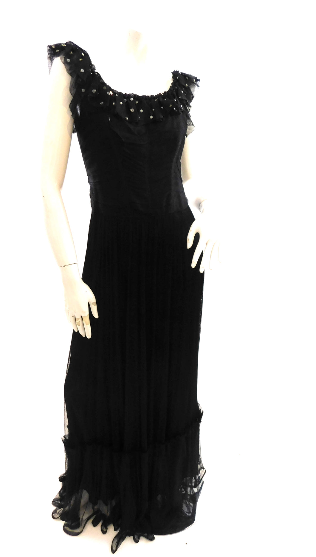 Elegant Vintage 1930s mesh and sequin evening gown