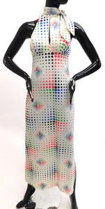 1970s Graphic pixel dots maxi dress